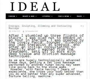 Energya slimming massage reviewed in Ideal Magazine