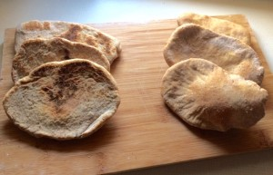 Homemade wholewheat pitta bread