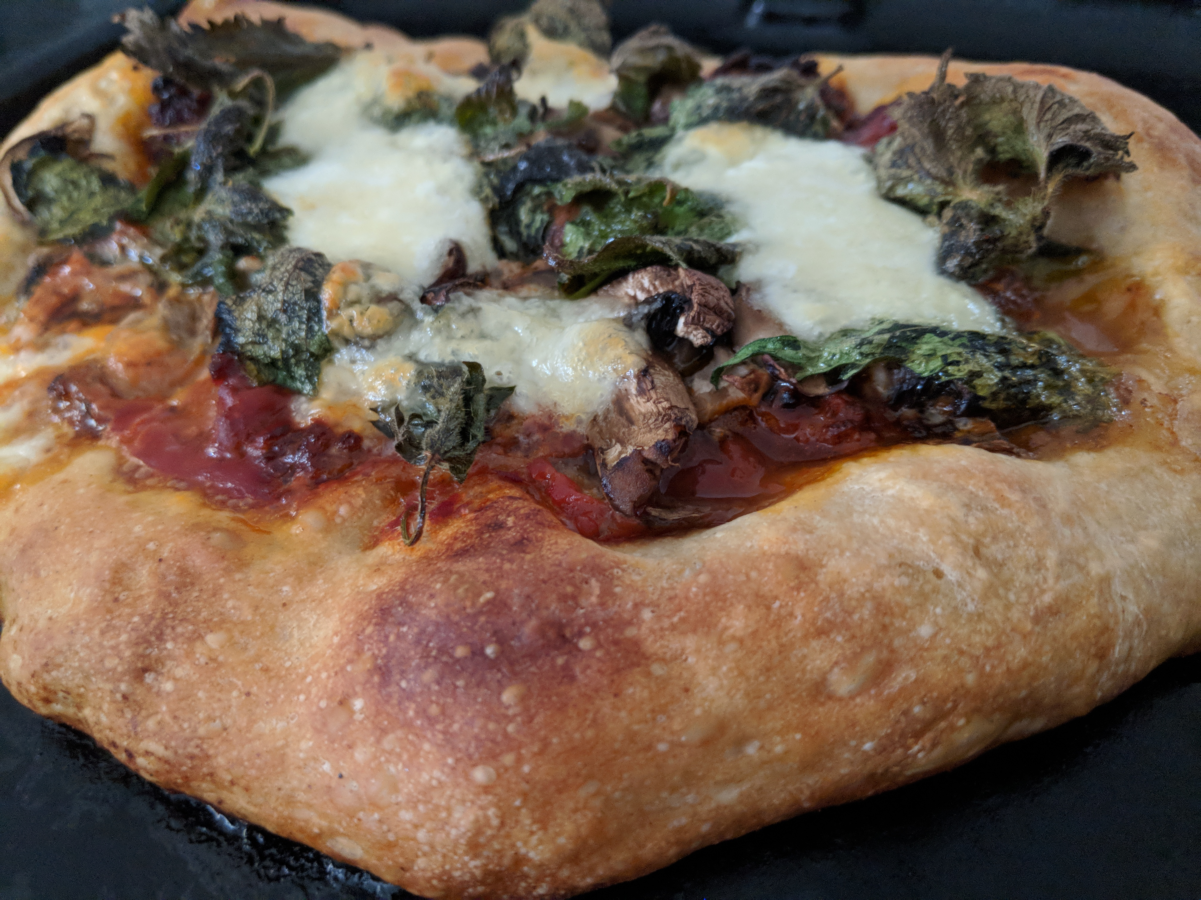 pizza topped with nettle