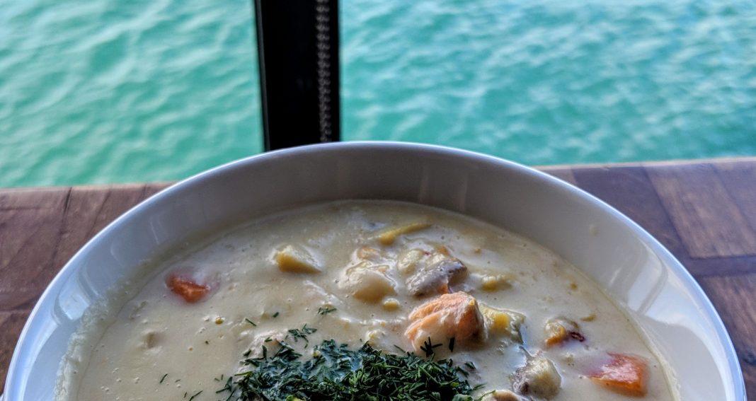 irish seafood chowder at Aqua Restaurant